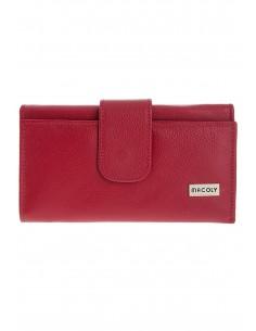 Billetera con cremallera A04 cuero rojo